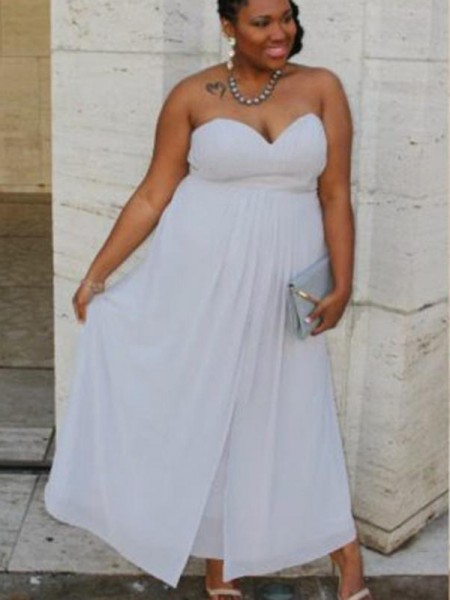 A-Line/Princess Sweetheart Ruched Ankle-Length Chiffon Sleeveless Plus Size Dresses