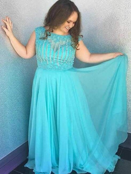 A-Line/Princess Bateau Sleeveless Chiffon Beading Sweep/Brush Train Plus Size Dresses