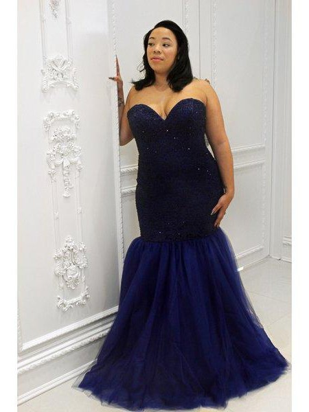 Trumpet/Mermaid Sweetheart Sleeveless Floor-Length Sequin Tulle Plus Size Dresses