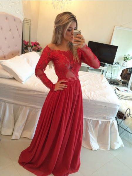 A-Line/Princess Chiffon Applique Sweep/Brush Train Long Sleeves Dresses