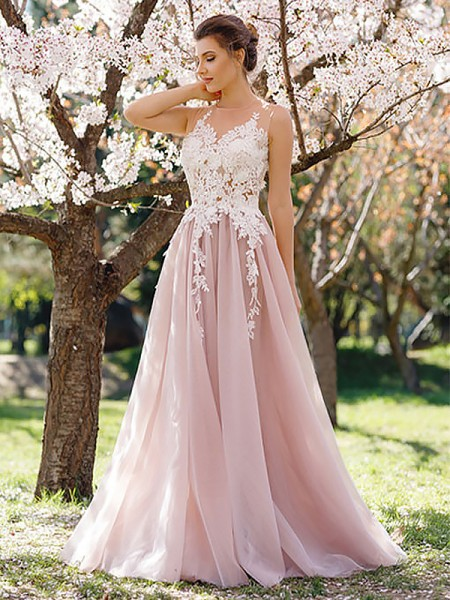 A-Line/Princess Sleeveless Floor-Length Jewel Applique Tulle Dresses