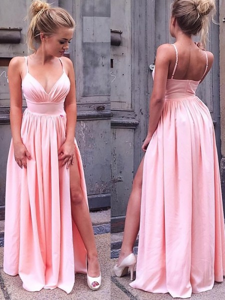 A-Line/Princess Silk like Satin Sleeveless Straps Floor-Length Ruched Dresses