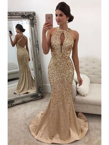 Trumpet/Mermaid Satin Sleeveless Halter Sequin Sweep/Brush Train Dresses