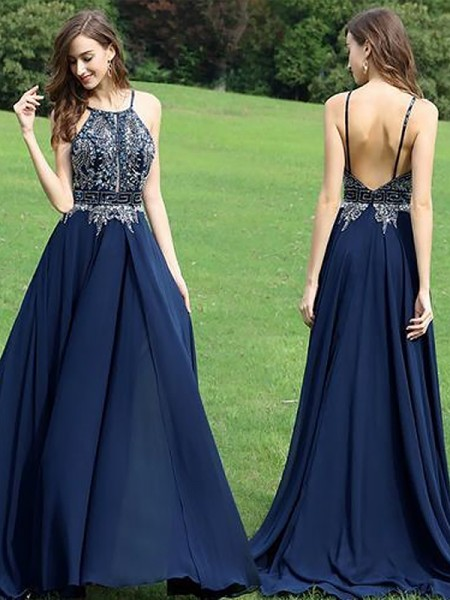 A-Line/Princess Halter Chiffon Sleeveless Beading Floor-Length Dresses