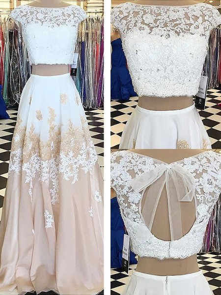 A-Line/Princess Bateau Chiffon Lace Sleeveless Floor-Length Two Piece Dresses