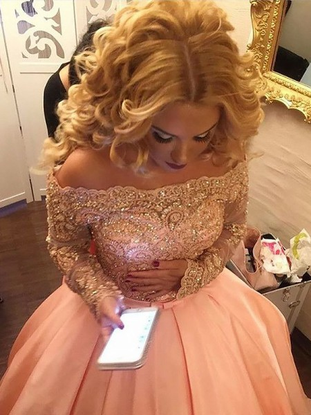 Ball Gown Beading Satin Long Sleeves Off-the-Shoulder Floor-Length Dresses