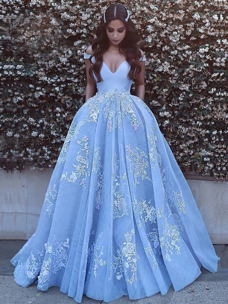 Ball Gown Off-the-Shoulder Applique Sleeveless Tulle Sweep/Brush Train Dresses
