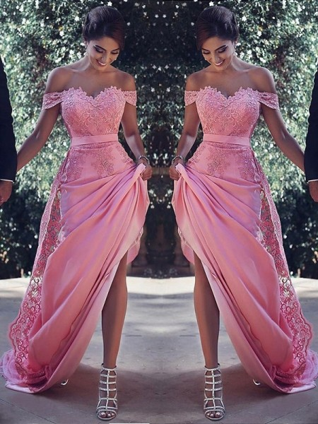 Sheath/Column Silk like Satin Off-the-Shoulder Sleeveless Sweep/Brush Train Lace Dresses
