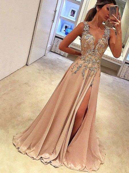 A-Line/Princess V-neck Chiffon Sleeveless Floor-Length Applique Dresses
