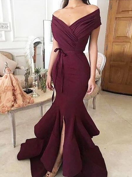 Trumpet/Mermaid Off-the-Shoulder Satin Sleeveless Floor-Length Ruched Dresses