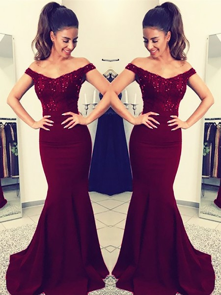 Trumpet/Mermaid Off-the-Shoulder Lace Elastic Woven Satin Sweep Train Sleeveless Dresses