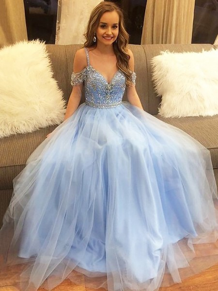 A-Line/Princess Floor-Length Tulle Sleeveless Beading Off-the-Shoulder Dresses