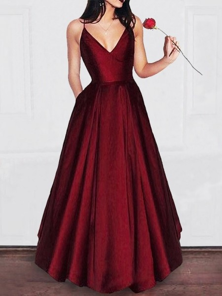 A-Line/Princess V-neck Floor-Length Sleeveless Ruffles Satin Dresses