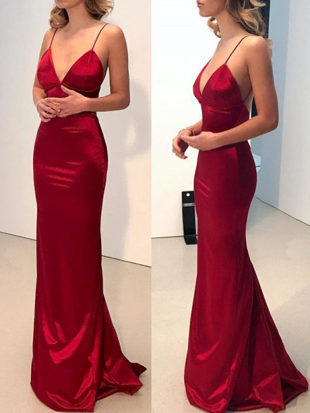 Sheath/Column Spaghetti Straps V-neck Sweep/Brush Train Satin Dresses