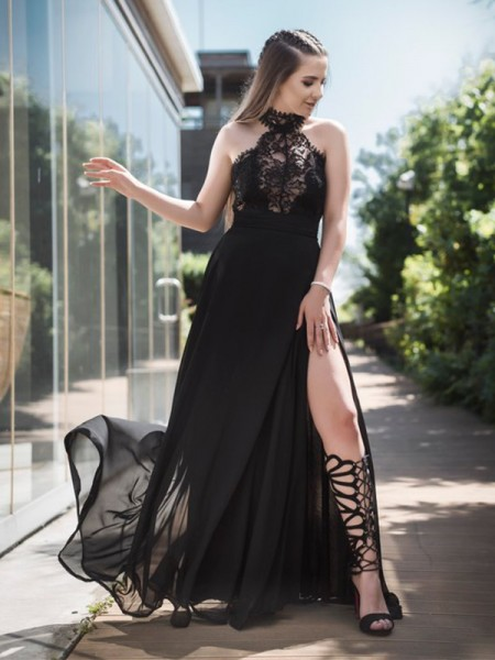 A-Line/Princess Sleeveless Halter Floor-Length Lace Chiffon Dresses