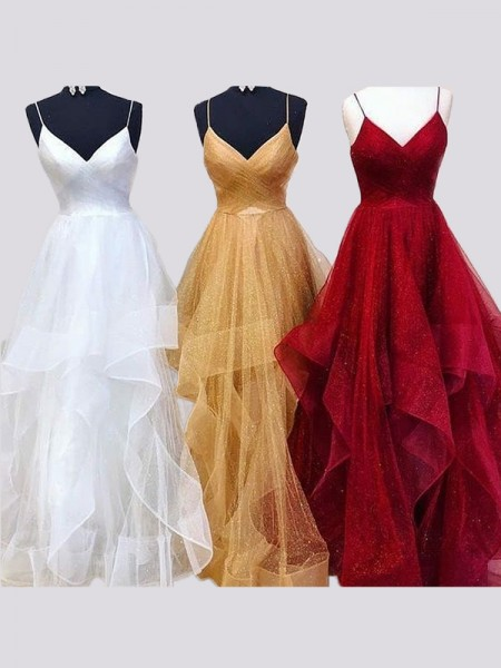 A-Line/Princess Sleeveless Spaghetti Straps Floor-Length Organza Ruffles Dresses
