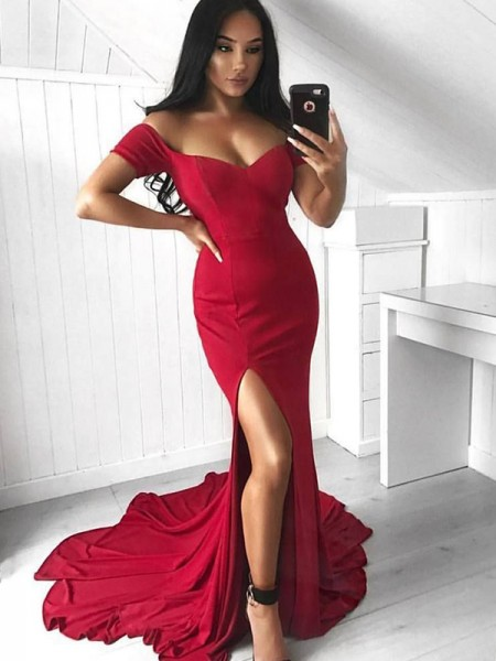Trumpet/Mermaid Sleeveless Off-the-Shoulder Court Ruffles Elastic Woven Satin Dresses