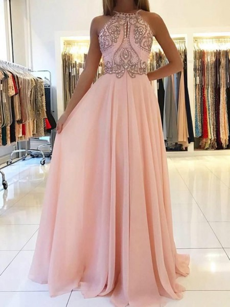 A-Line/Princess Sleeveless Halter Sweep train Beading Chiffon Dresses