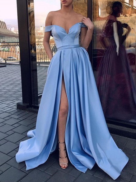 A-Line/Princess Sleeveless Off-the-Shoulder Sweep/Brush Train Ruffles Satin Dresses