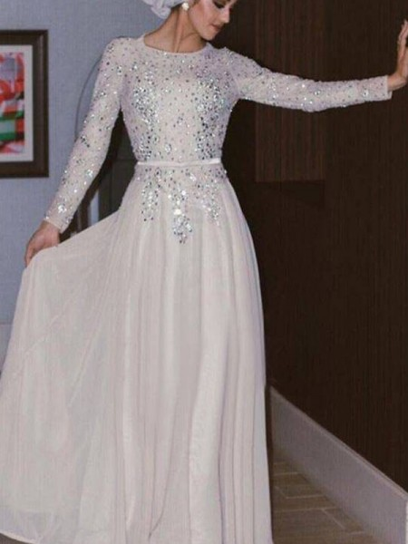 A-Line/Princess Long Sleeves Scoop Floor-Length Crystal Chiffon Muslim Dresses