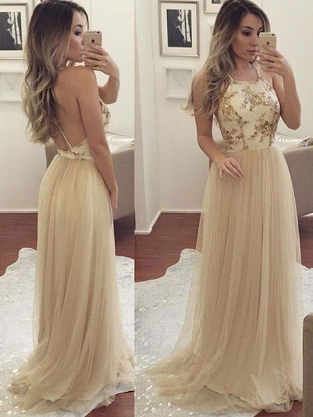 A-Line/Princess Sleeveless Halter Floor-Length Applique Tulle Dresses