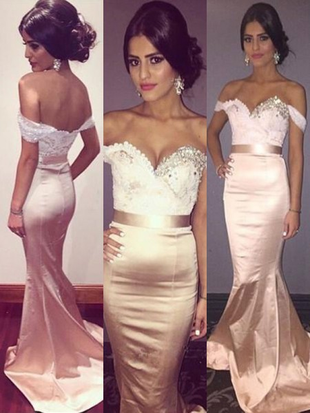 Trumpet/Mermaid Sleeveless Off-the-Shoulder Sweep/Brush Train Beading Satin Dresses