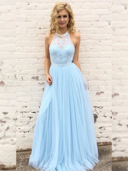 A-Line/Princess Tulle Lace Halter Sleeveless Floor-Length Dresses