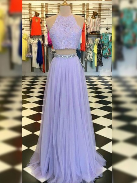 A-Line/Princess Tulle Lace Halter Sleeveless Sweep/Brush Train Two Piece Dresses