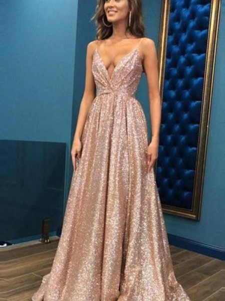 A-Line/Princess Sleeveless Spaghetti Straps Floor-Length Sequins Dresses