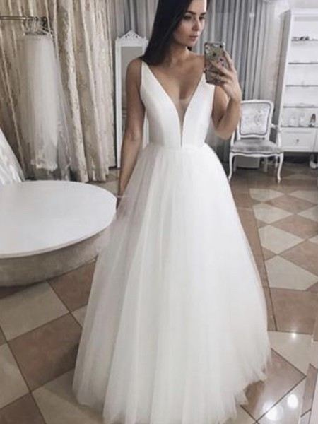 A-Line/Princess Tulle Ruffles V-neck Sleeveless Floor-Length Wedding Dresses