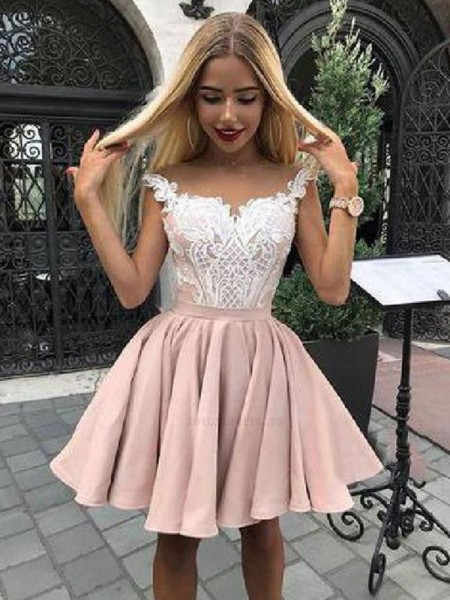 A-Line/Princess Satin Applique Off-the-Shoulder Sleeveless Short/Mini Homecoming Dresses
