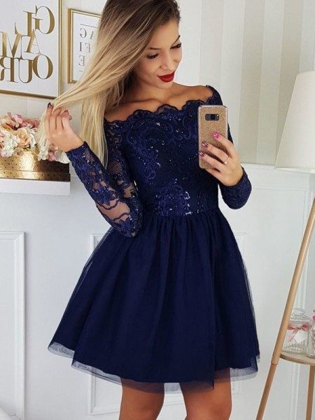 A-Line/Princess Tulle Applique Off-the-Shoulder Long Sleeves Short/Mini Homecoming Dresses