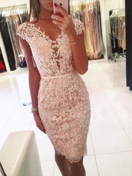 Sheath/Column Lace V-neck Sleeveless Knee-Length Homecoming Dresses