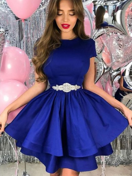 A-Line/Princess Satin Sash/Ribbon/Belt Sheer Neck Short Sleeves Short/Mini Homecoming Dresses