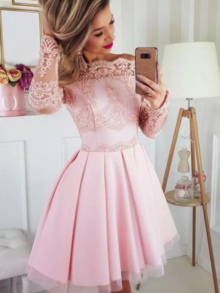 A-Line/Princess Satin Lace Off-the-Shoulder Long Sleeves Short/Mini Homecoming Dresses