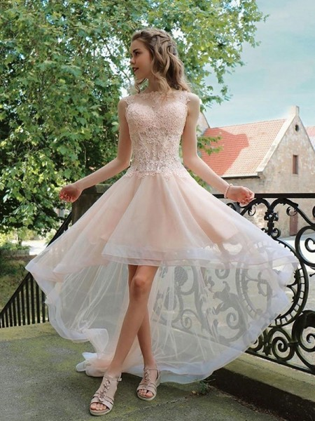 A-Line/Princess Tulle Applique Sheer Neck Sleeveless Asymmetrical Homecoming Dresses