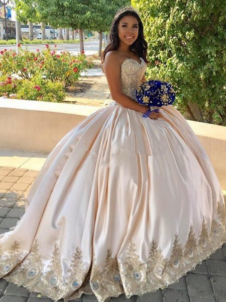 Ball Gown Beading Sweetheart Sweep/Brush Train Satin Sleeveless Dresses