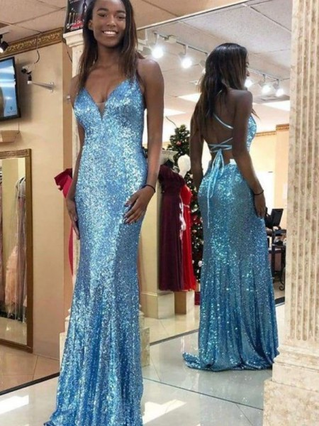 Trumpet/Mermaid Sequins Sleeveless V-neck Ruffles Sweep/Brush Train Dresses