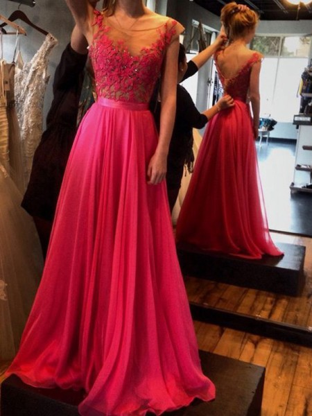 A-Line/Princess Chiffon Sleeveless Sweep train Applique Dresses