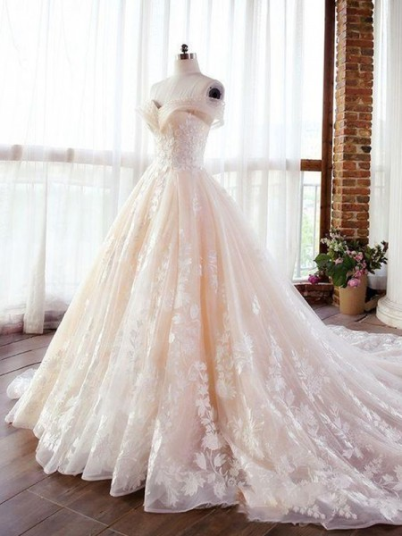 Ball Gown Lace Applique Sweetheart Sleeveless Court Train Wedding Dresses