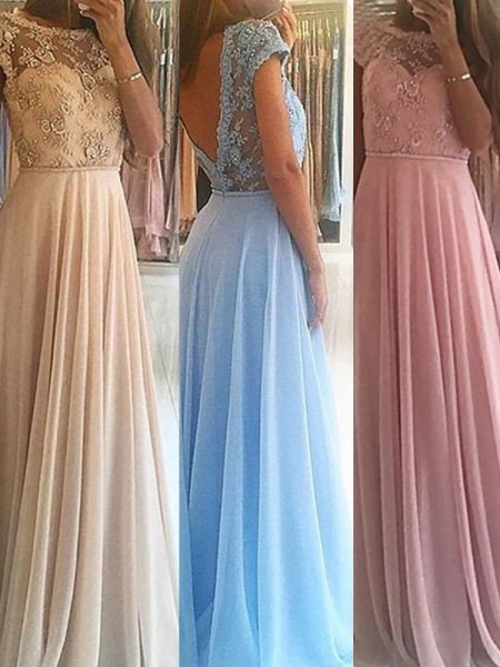 A-Line/Princess Chiffon Sleeveless Floor-Length Beading Dresses
