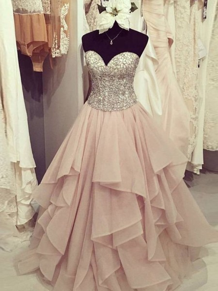 Ball Gown Chiffon Sleeveless Floor-Length Beading Dresses