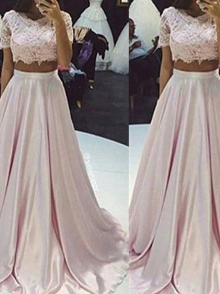 A-Line/Princess Taffeta Sleeveless Floor-Length Lace Dresses