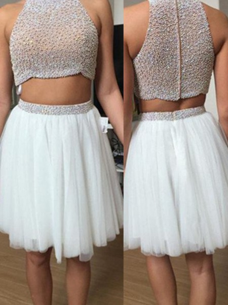 A-Line/Princess Tulle Short/Mini Beading Sleeveless Dresses