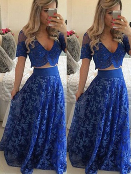 A-Line/Princess Lace Short Sleeves Floor-Length Dresses