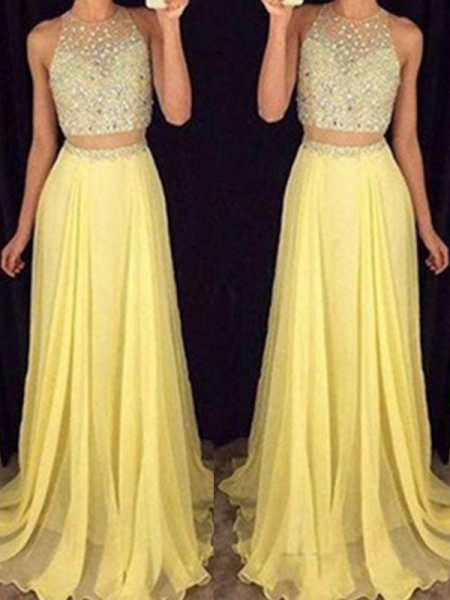 A-Line/Princess Sleeveless Floor-Length Beading Chiffon Dresses