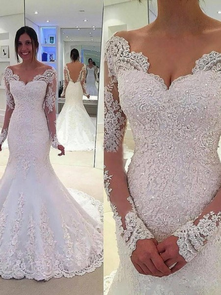Trumpet/Mermaid Tulle Long Sleeves Lace Wedding Dresses
