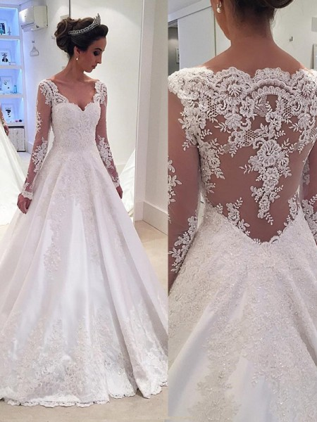Ball Gown Satin Long Sleeves Lace Court Train Wedding Dresses