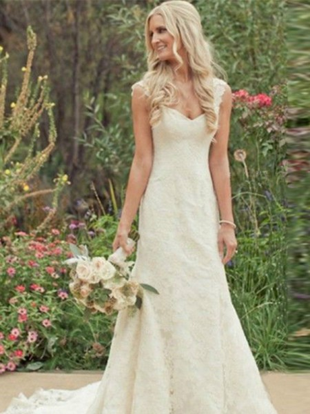 Trumpet/Mermaid Lace Sweep/Brush Train Sleeveless Wedding Dresses