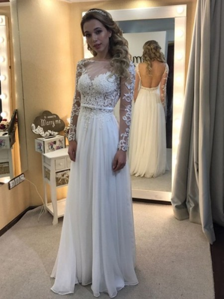 A-Line/Princess Chiffon Long Sleeves Lace Floor-Length Wedding Dresses